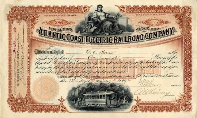 scripophily certificates bond 1899 railroad atlantic jersey coast electric company