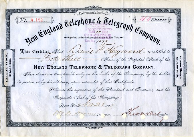 telephone telegraph england theodore vail company signed president 1883 certificates certificate scripophily york bell alexander offering dated graham bond