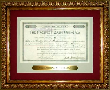 Telluride Stock Certificate