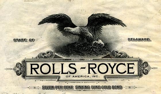 1922 Rolls Royce. Rolls-Royce of America Inc.