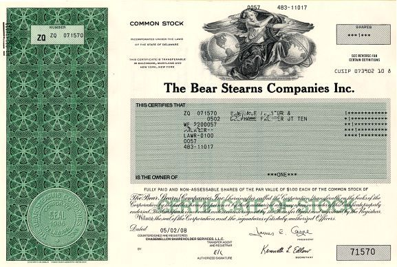 Bear Stearns Companies Inc. (No longer traded - Historic bail out by the Federal Reserve) - Delaware